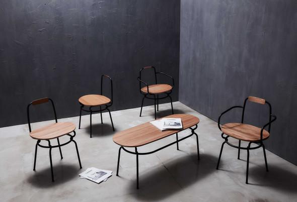 "41"" x 77.4"" x 51.3"" Black Wood Steel Chair"