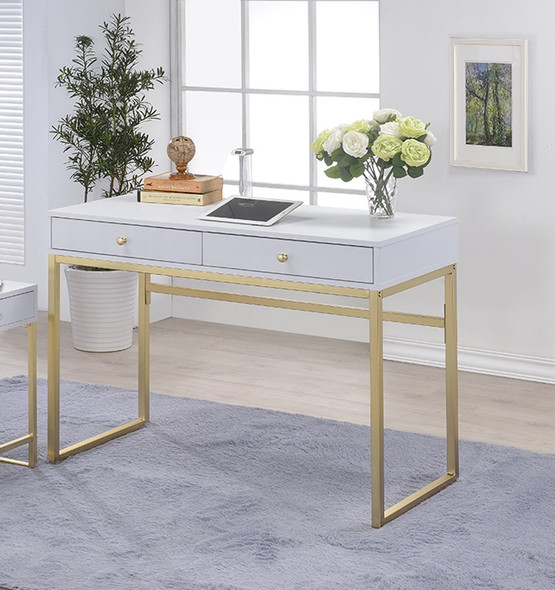 """42"""" X 19"""" X 31"""" White And Brass Particle Board Desk"""