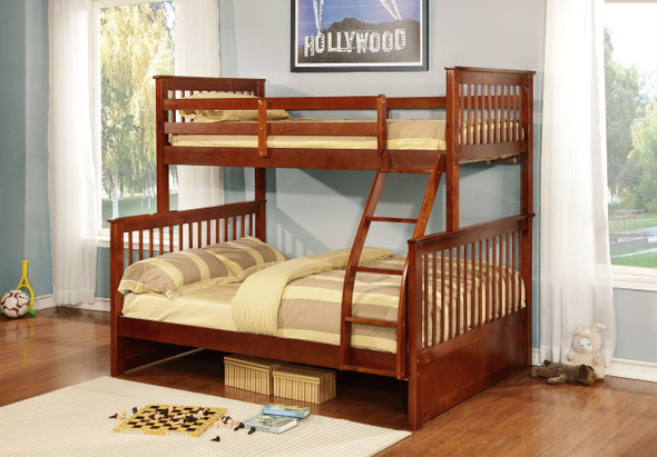 """80'.5"""" X 41'.5-57'.5"""" X 70'.25"""" Walnut Manufactured Wood and Solid Wood Twin/Full Bunk Bed"""