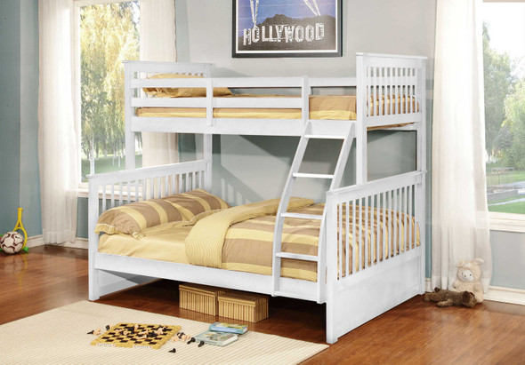 """80'.5"""" X 41'.5-57'.5"""" X 70'.25"""" White Manufactured Wood and Solid Wood Twin/Full Bunk Bed"""