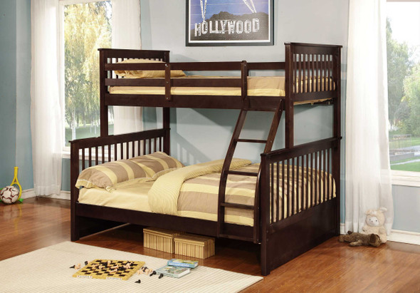 """80'.5"""" X 41'.5-57'.5"""" X 70'.25"""" Brown Manufactured Wood and Solid Wood Twin/Full Bunk Bed"""