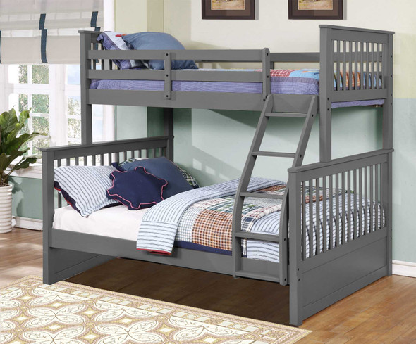 """80'.5"""" X 41'.5-57'.5"""" X 70'.25"""" Grey Manufactured Wood and Solid Wood Twin/Full Bunk Bed"""