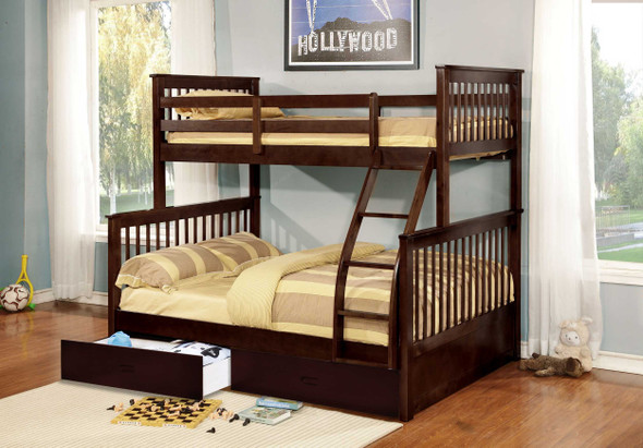 """80'.5"""" X 41'.5-57'.5"""" X 70'.25"""" Brown Manufactured Wood and Solid Wood Twin/Full Bunk Bed with 2 Drawers"""