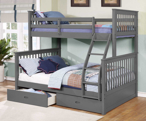 """80'.5"""" X 41'.5-57'.5"""" X 70'.25"""" Grey Manufactured Wood and Solid Wood Twin/Full Bunk Bed with 2 Drawers"""