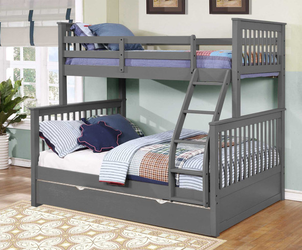 """80'.5"""" X 41'.5-57'.5"""" X 70'.25"""" Grey Manufactured Wood and Solid Wood Twin/Full Bunk Bed with Matching Trundle"""