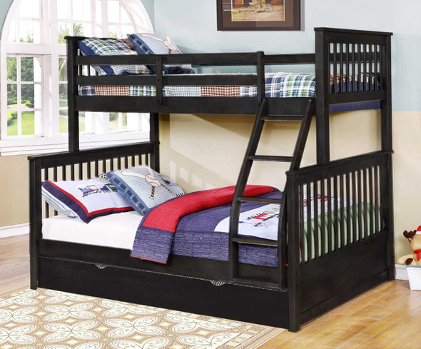 """80'.5"""" X 41'.5-57'.5"""" X 70'.25"""" Charcoal Manufactured Wood and Solid Wood Twin/Full Bunk Bed with Matching Trundle"""