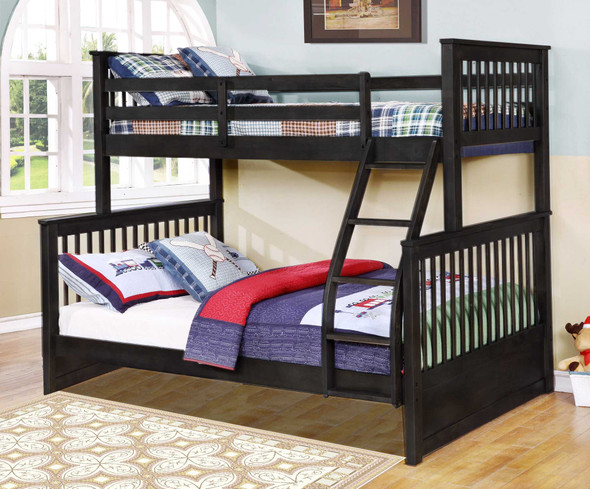 """80'.5"""" X 41'.5-57'.5"""" X 70'.25"""" Charcoal Manufactured Wood and Solid Wood Twin/Full Bunk Bed"""