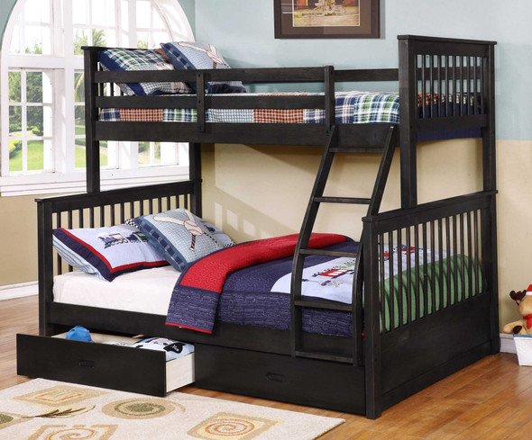 """80'.5"""" X 41'.5-57'.5"""" X 70'.25"""" Charcoal Manufactured Wood and Solid Wood Twin/Full Bunk Bed with 2 Drawers"""