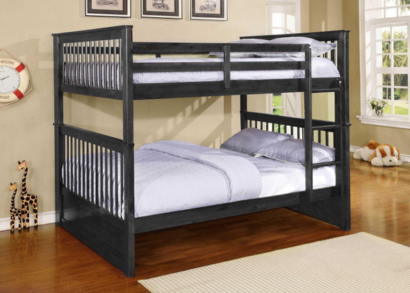 """80'.25"""" X 58'.5"""" X 68'.75"""" Charcoal Solid Wood and Manufactured Wood Full/Full Bunk Bed"""