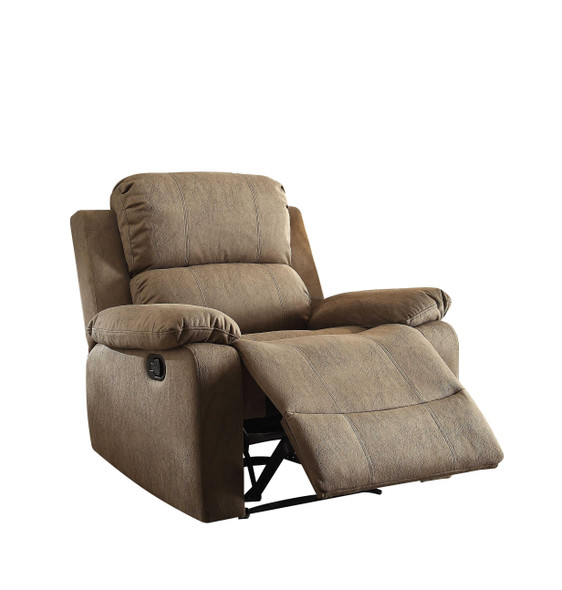 "38"" X 38"" X 39"" Taupe Polished Microfiber Fabric Recliner"