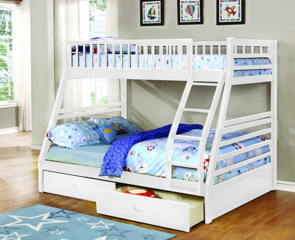 """78'.75"""" X 42'.5-57'.25"""" X 65"""" White Manufactured Wood and Solid Wood Twin/Full Bunk Bed with 2 Drawers"""