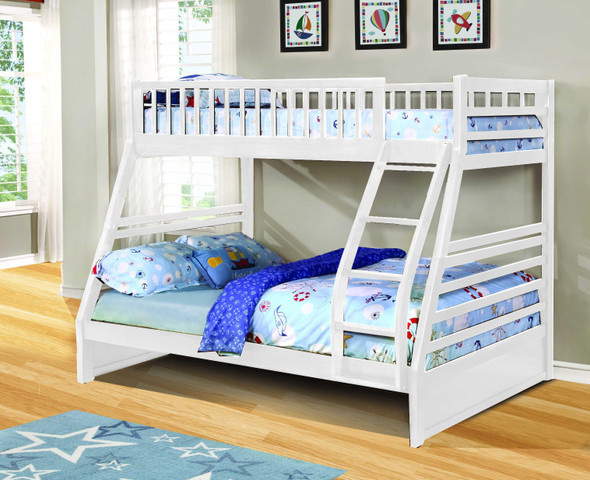 """78'.75"""" X 42'.5-57'.25"""" X 65"""" White Manufactured Wood and Solid Wood Twin/Full Bunk Bed"""