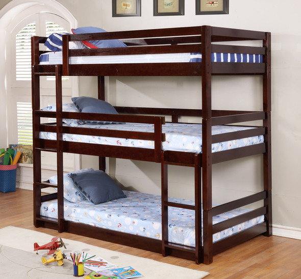 """79'.5"""" X 41'.75"""" X 76'.75"""" Brown Solid Wood Twin Triple Bunk Bed"""