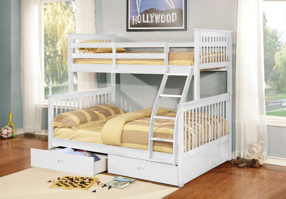 """80'.5"""" X 41'.5-57'.5"""" X 70'.25"""" White Manufactured Wood and Solid Wood Twin/Full Bunk Bed with 2 Drawers"""