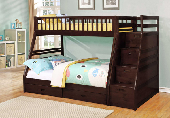 """81"""" X 59"""" X 65"""" Brown Manufactured Wood and Solid Wood Twin/Full Staircase Bunk Bed with Storage"""
