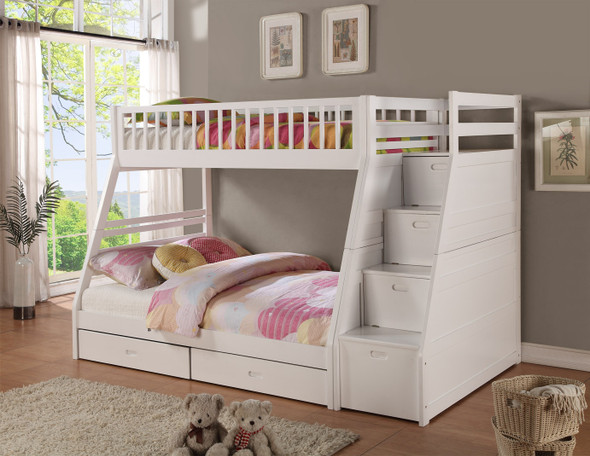 """81"""" X 59"""" X 65"""" White Manufactured Wood and Solid Wood Twin/Full Staircase Bunk Bed with Storage"""