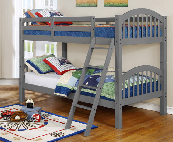 """81'.25"""" X 42'.5"""" X 62'.5"""" Grey Solid and Manufactured Wood Twin/Twin Arched Wood Bunk Bed"""