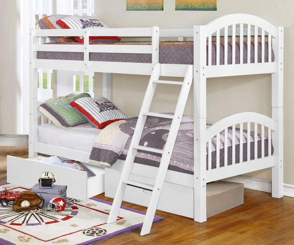 """81'.25"""" X 42'.5"""" X 62'.5"""" White Solid and Manufactured Wood Twin/Twin Arched Wood Bunk Bed with 2 Drawers"""