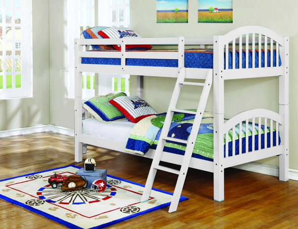 """81'.25"""" X 42'.5"""" X 62'.5"""" White Solid and Manufactured Wood Twin/Twin Arched Wood Bunk Bed"""