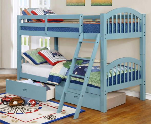 """81'.25"""" X 42'.5"""" X 62'.5"""" Blue Solid and Manufactured Wood Twin/Twin Arched Wood Bunk Bed with 2 Drawers"""