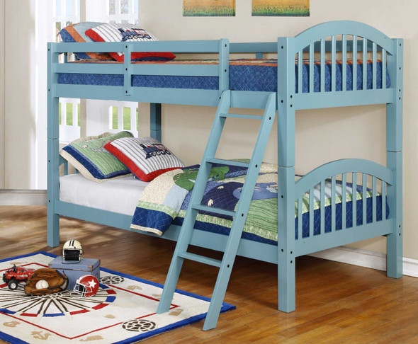 """81'.25"""" X 42'.5"""" X 62'.5"""" Blue Solid and Manufactured Wood Twin/Twin Arched Wood Bunk Bed"""