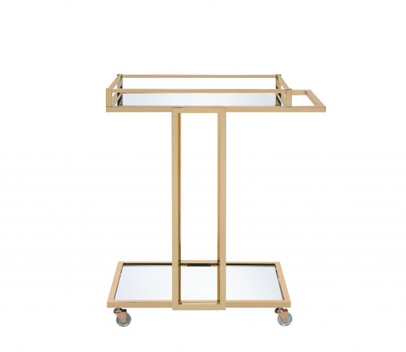"17"" X 29"" X 33"" Gold Metal Mirror Casters Serving Cart"