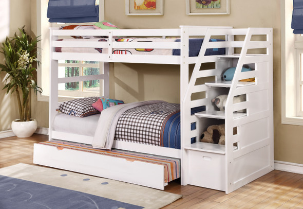 """77'.75"""" X 43'.5"""" X 62'.5"""" White Manufactured Wood and Solid Wood Twin/Twin Staircase Bunk Bed with Trundle amp; Storage Steps"""