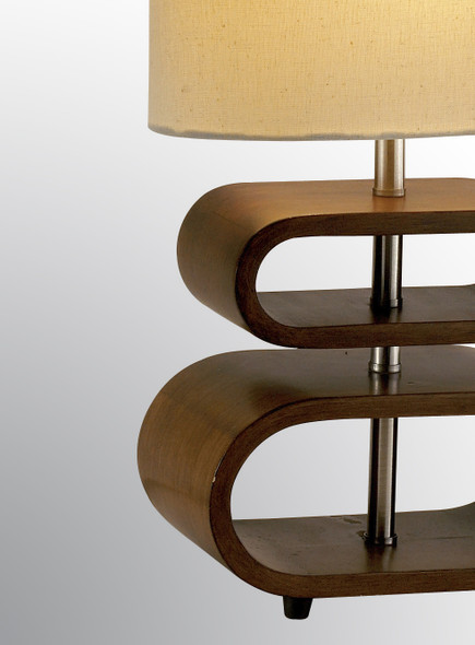 """9.25"""" X 6"""" X 19.5"""" Walnut Wood Table Lamp"""