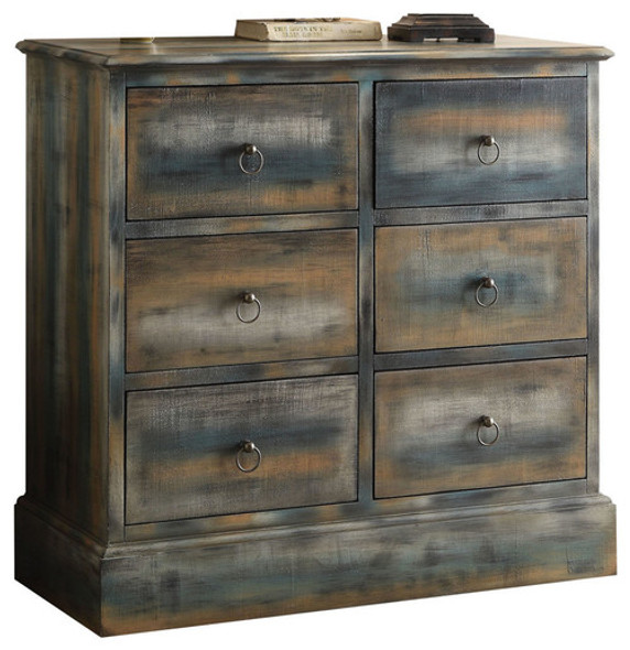 """35"""" X 15"""" X 36"""" Antique Oak And Teal Console Table"""