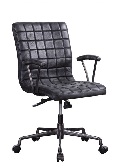 """24"""" X 25"""" X 36"""" Vintage Black Top Grain Leather Aluminum Metal Upholstered (Seat) Casters Engineered Wood Executive Office Chair"""