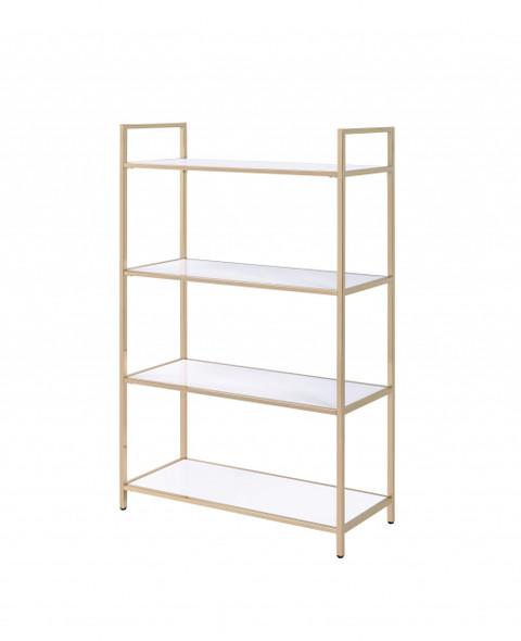 "16"" X 37"" X 60"" White High Gloss Gold Metal Wood Bookshelf"