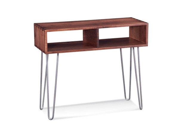 """16"""" X 36"""" X 36"""" Deep Maple And Steel Console Table"""