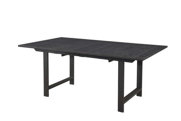 """72"""" X 42"""" X 30"""" Charcoal Rough Cut Oak And Steel Reclaimed (Saw-Marks) Table w/18"""" Leaf"""