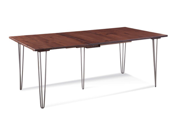 """84"""" X 42"""" X 30"""" Deep Maple And Steel Dining Table with Two 12"""" Leaves"""