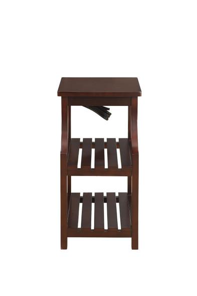 "13"" X 20"" X 24"" Espresso Wood Veneer Side Table"