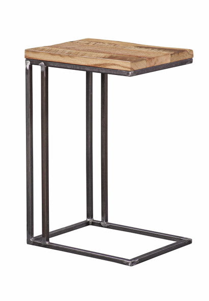 """14"""" X 18"""" X 27.'5"""" Natural Oak And Steel Side Table"""