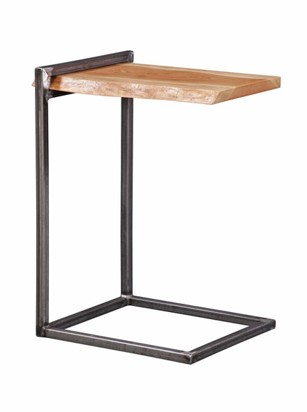 """14"""" X 18"""" X 29"""" Natural Cherry And Steel Live Edge Side Table"""