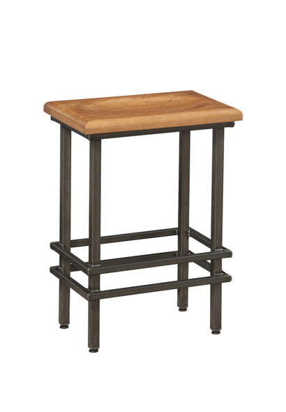 "18"" X 12"" X 24"" Natural Cherry And Steel Stool"