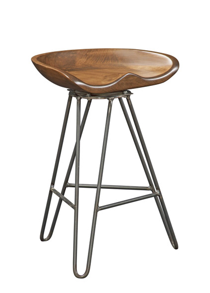 "19.'5"" X 14"" X 30"" Chocolate Maple And Steel Stool"