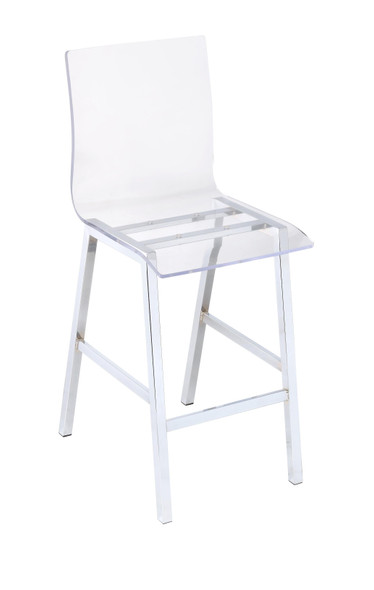 """19"""" X 16"""" X 39"""" Acrylic And Chrome Counter Height Chair"""