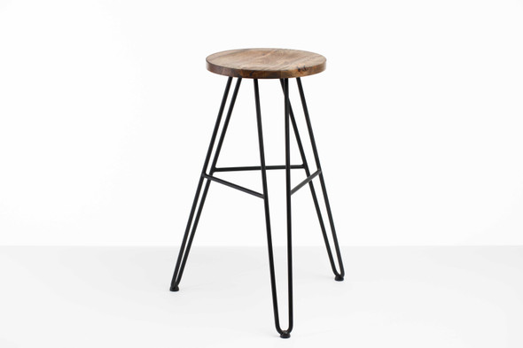 "12"" X 12"" X 30"" Charcoal Ash Wood And Steel Round Bar Stool"