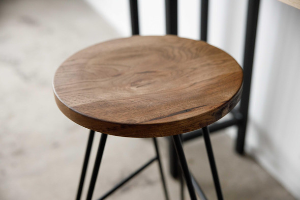 "12"" X 12"" X 30"" Chocolate Ash Wood And Steel Round Bar Stool"