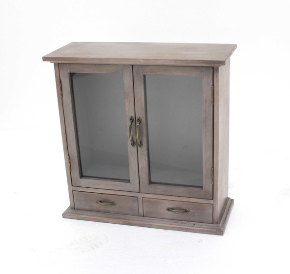 """8"""" x 24"""" x 24"""" Brown, 2 Drawer, Rustic, Wall Mounted, Wooden - Cabinet"""