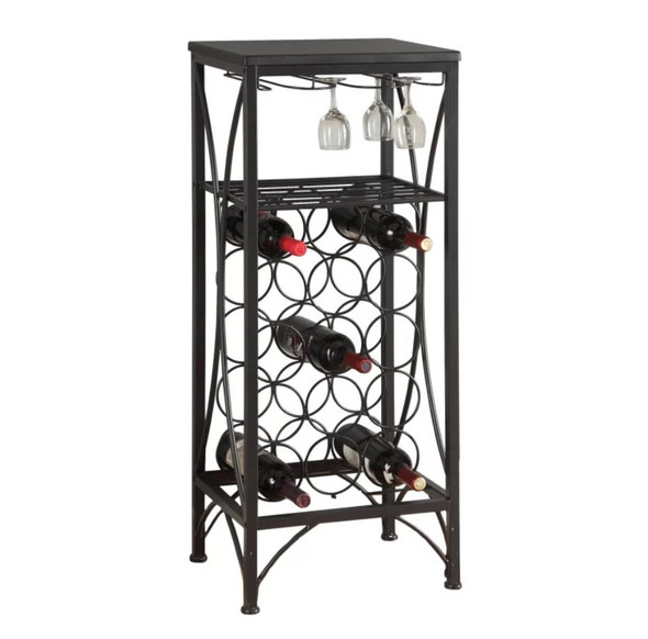 "12'.5"" x 16'.25"" x 40'.5"" Black, Metal, Wine Bottle and Glass Rack - Home Bar"