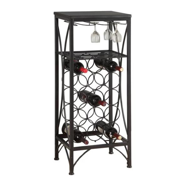 "12'.5"" x 16'.25"" x 40'.5"" Black, Metal, Wine Bottle and Glass Rack - Home Bar"