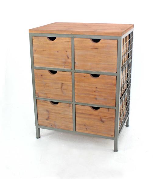 """15.75"""" x 28"""" x 37"""" Natural, 6 Drawer, Metal Framed - Wooden Cabinet"""