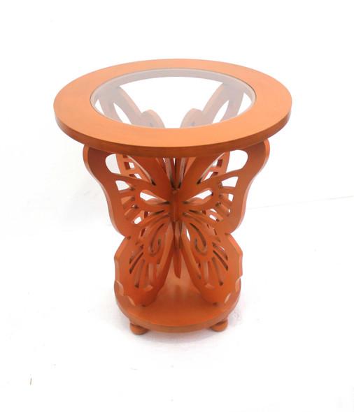 "23.5"" x 23.5"" x 27.75"" Orange, Wood, Butterfly - Coffee Table"