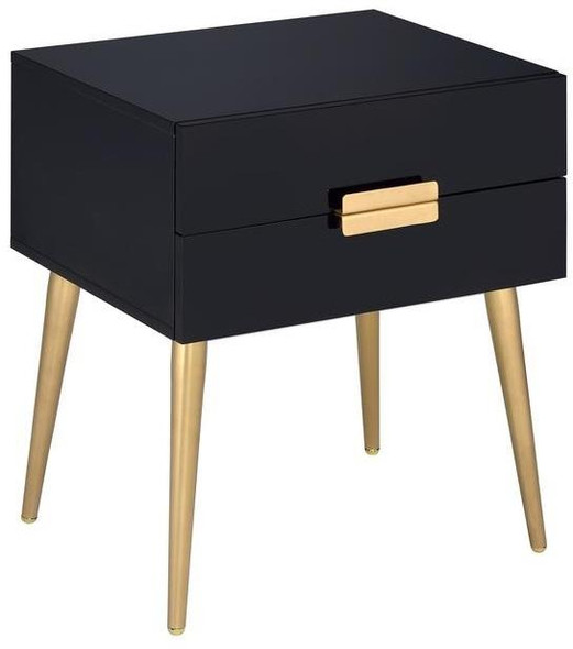 """20"""" X 16"""" X 24"""" Black And Gold Metal End Table"""