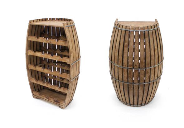 "14"" x 20"" x 32"" Brown, Rustic, Half-Barrel Shaped, Wooden - Wine Rack"