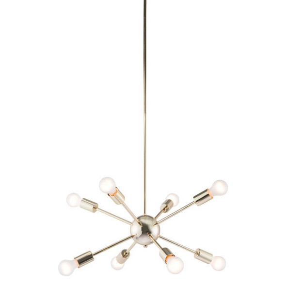 "27"" X 27"" X 59"" Gold Electroplated Metal Ceiling Lamp"